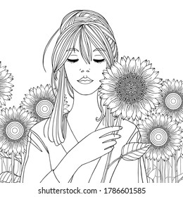 Pretty girl with sunflowers. Summer coloring page. Vector outline illustration for coloring book for adult, print, decoration, invitation cards. Line art with doodles.