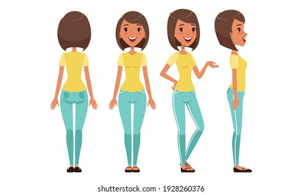 Pretty Girl in Various Poses Set, Beautiful Young Woman Character Creation Cartoon Vector Illustration
