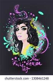 Pretty girl, vector illustration