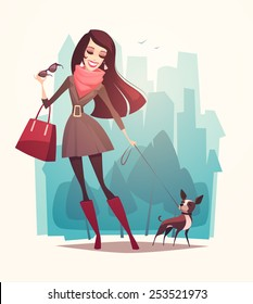 Pretty girl walking a dog. Vector illustration.