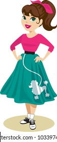 Pretty girl wearing 1950s ponytail and outfit of blue poodle skirt, bright pink hair-tie, and saddle shoes with bobby socks. Vector illustration