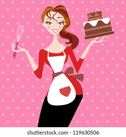 Pretty girl who has just baked a chocolate cake, holding cake and mixer in hands