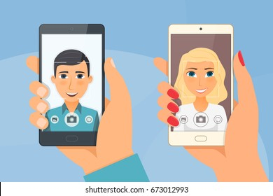 Pretty girl and young boy taking selfie using a smartphone. Vector illustration.