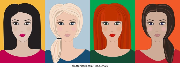 Pretty glamour girls set. Different haircut and hairstyle. Changing colors. European faces. Elegant template