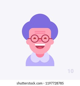 Pretty grandmother in glasses smiling. Modern simple and clear design. People avatar #10. Vector icon in flat style.