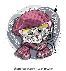 Pretty gray cat with glasses, pink hat, knitted scarf and Eiffel Tower. Vector illustration of dressed kitten in Paris.