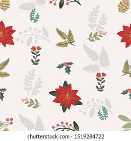 Pretty Greenery Seamless Pattern Vector with Red Poinsettia and Holly Berries
