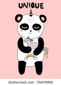 pretty happy smiling panda with horn is hugging unicorn toy, pink background, isolated girlish childish art with text for summer t-shirts, wall art, baby shower, textile, mugs, covers, phone cases, cards