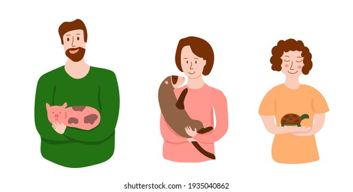 Pretty illustration with happy pet owners. Man with pig, woman with ferret and woman with tortoise. Pretty illustration for banners, web-sites, flyers, stickers, etc