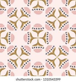 Pretty indian floral bloom pattern. Seamless repeating. Hand drawn ornate vector illustration. Ornamental stylized flowwer grid on trendy decorative pink background. Spring fashion, retro home decor.