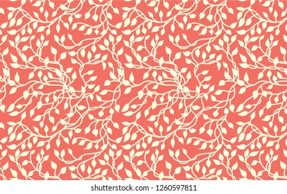 Pretty ivy vines in white on coral pink background in a hand drawn nature pattern design. Romantic wallpaper material with climbing leaves in a garden print illustration.