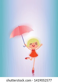 Pretty Katy jumping and dancing. Happy funny girl with red umbrella under the spring shower. Girl is wearing red dress and enjoying rainfall. Kid playing on the nature outdoors.
