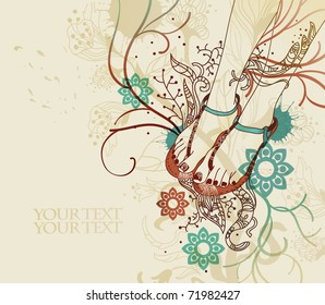 pretty legs in summer sandals with bright pedicure on a floral background