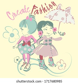Pretty little fashion girls vector character illustration. Create fashion collection