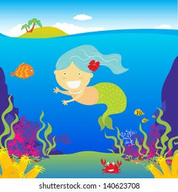 Pretty Little Mermaid With Underwater Background