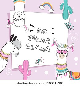 Pretty llamas and the inscription no drama llama on a pink background