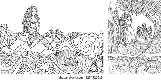 Pretty mermaid sitting on stone and beautiful ocean wave for adult coloring book,coloring pages,colouring pictures. Vector illustration