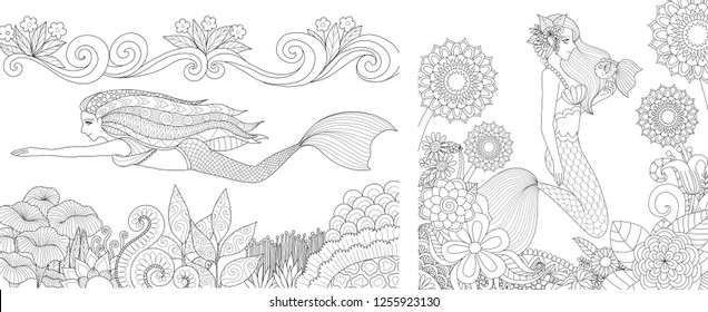 Pretty mermaid swimming above beautiful coral and playing with cute fish set for adult and kid coloring book, coloring pages, colour pictures. Vector illustration.