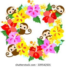 Pretty monkeys and the wreath of hibiscus