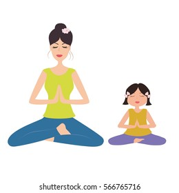 Pretty mother and daughter doing yoga in namaste pose. Vector illustration