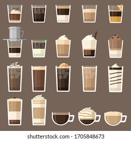 Pretty much all the types of coffee drink, These for coffee lovers.