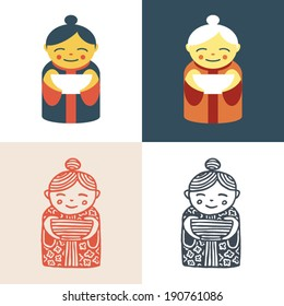 Pretty old woman chef with white dish at her hands. Vector icon set. Logo template.