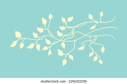 pretty pastel yellow ivy vector design element on light blue background in a beautiful vine border design with climbing leaves in a silhouette outline that is editable