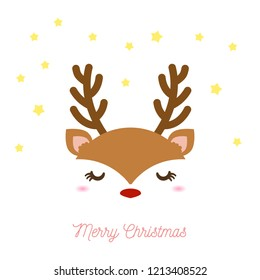 A pretty picture of a reindeer face looking cute for Christmas