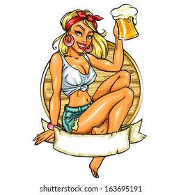 Pretty Pin Up Girl holding beer mug. Vector label with space for text.