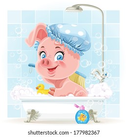 Pretty pink little piggy taking a bath with foam