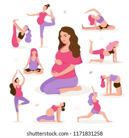 Pretty pregnant woman doing yoga, having healthy lifestyle and relaxation, exercises for pregnant women vector flat illustration. Happy and healthy pregnancy concept isolated on white background.