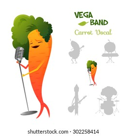 Pretty red carrot character singing a song in retro microphone with band. Vega band characters concept collection.  Suitable for typography, games and animation. Vector illustration