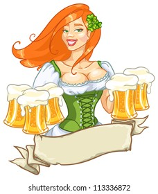 Pretty red girl with beer, St. Patrick's Day logo design with space for text, isolated