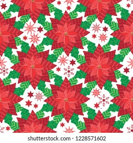 Pretty red poinsettia flowers with snow and stars motifs on a white background. Perfect for Christmas decoration , gift wrapping and textile projects. Seamless vector pattern background.
