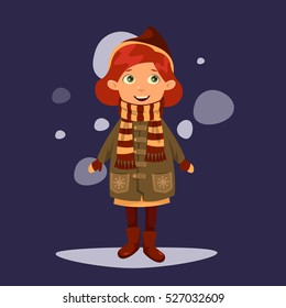 Pretty red-haired girl in a warm coat and striped scarf is enjoying the falling snow. Vector cartoon illustration