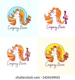 Pretty red-haired woman with creative coiffure. Logo set for beauty salon, hairdresser or hair care products