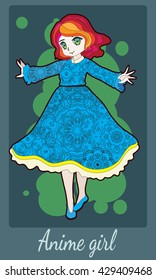 Pretty redhead anime girl in bright blue dress. Card design