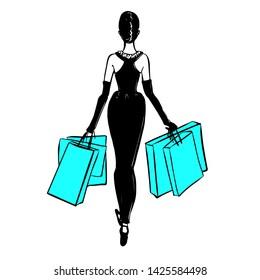 Pretty retro girl doing shopping. Woman with shopping bags, back side. Fashion sketch