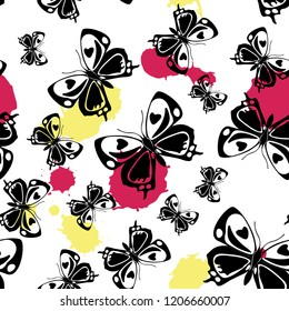 Pretty seamless butterfly cloth texture with blotter on white. Wildlife butterfly linen theme vector. Repeating insect fabric clipart for wallpaper.