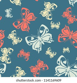 Pretty seamless butterfly iterative background isolated on contrast back layer. Season butterfly repeat theme vector. Wildlife insect fauna artwork for wrapping paper.