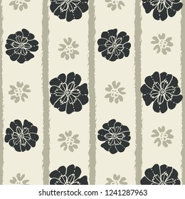 Pretty, seamless floral pattern in neutral tones. bi directional striped vector design with light background. Great for many uses- packaging, textiles, home decor, fashion, stationery, invitations.