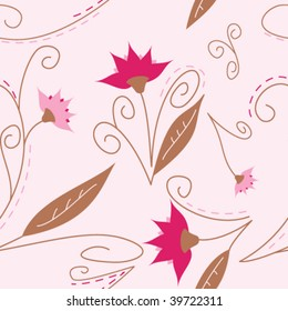 Pretty seamless and fully repeatable pattern featuring flowers in pink, girly colors