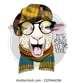 Pretty sheep with glasses, knitted scarf and checkered cap. Hand drawn illustration of dressed sheep. Sheep is teased and shows tongue. Vector illustration.