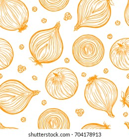 Pretty sketched seamless pattern made of hand drawn onion.