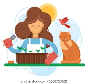 Pretty spring sunny day woman plant seedling and sprout into the ground with cute cat