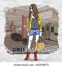Pretty stylish girl in sketch-style on a subway station. Vector illustration.