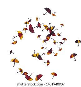 Pretty summer background with umbrellas. Umbrellas In Cartoon Free Style. Pattern Art Illustration Vector