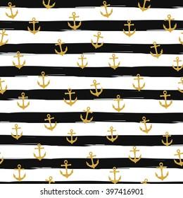 Pretty Summer seamless pattern template. Gold glitter confetti on striped background. Vector illustration.