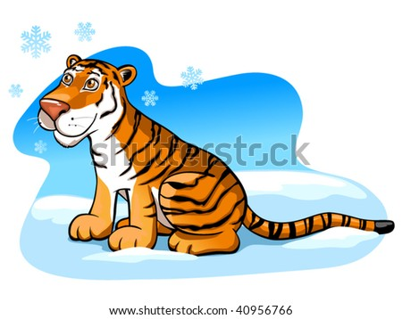 pretty tiger on the snow (editable layers)
