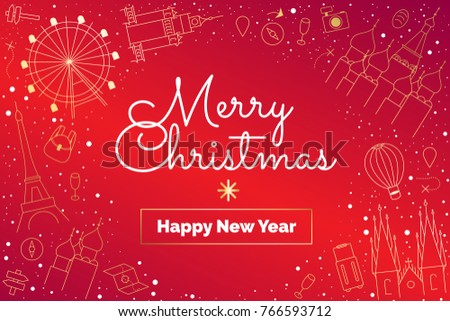 Pretty Traditional Merry Christmas Happy New Stock Vector (Royalty ...
